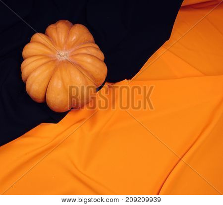 a large pumpkin on a black and orange background. Holiday Halloween. preparations for the Halloween holiday