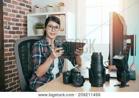Pretty Female Photographer Face To Camera