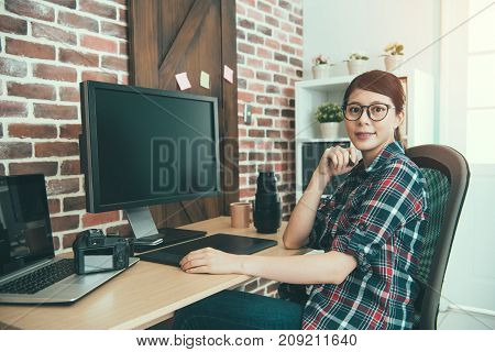 Confident Woman Right Office Worker Designer
