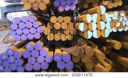 Steel Rods In Stock. The Transport Form Of Steel. Steel For Expo