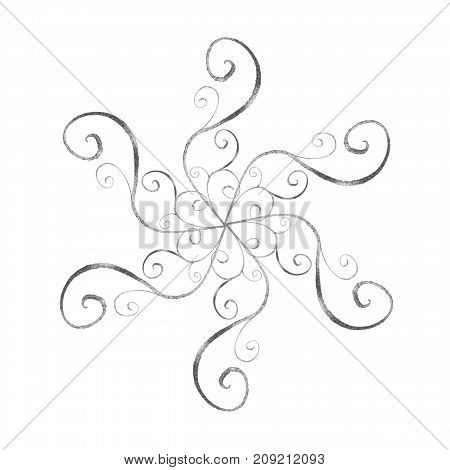 Silver Snowflake In Oriental Style