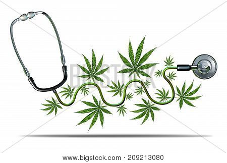Medical cannabis and marijuana medicine concept as a natural medicinal symbol as a doctor stethoscope with leaves as a 3D render concept.