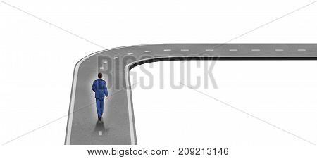 Career turn concept and turning the corner symbol isolated on a white background as a 3D render.