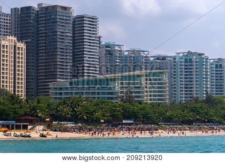 Sanya, China - April 03, 2017: Hotels on Dadonghai Beach on the tourist island of Hainan