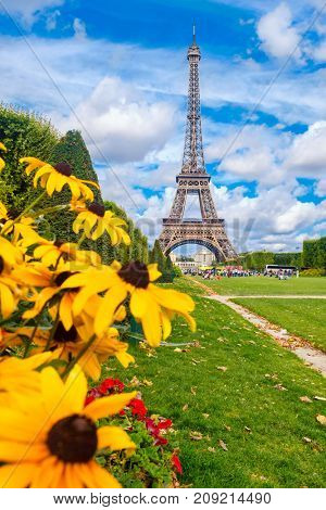 The Eiffel Tower and colorful yellow flowers on a beautiful summer day in Paris