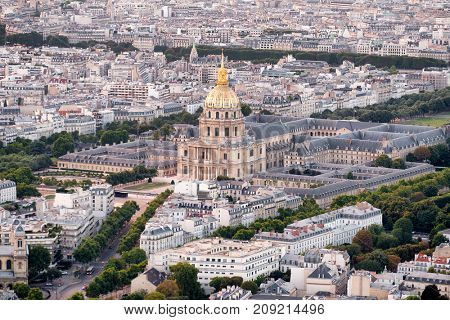 Aerial view of central Paris including Les Invalides