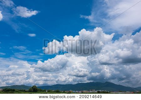 Beauty Sky With Cloudy Above Mountain Range, Serenity Nature Background.