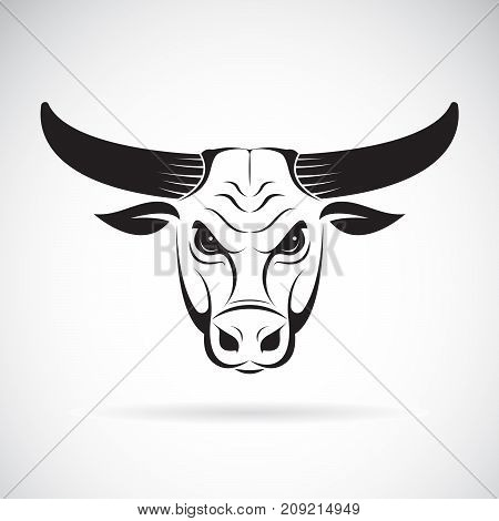 Vector of a bull head on a white background. Wild Animals.