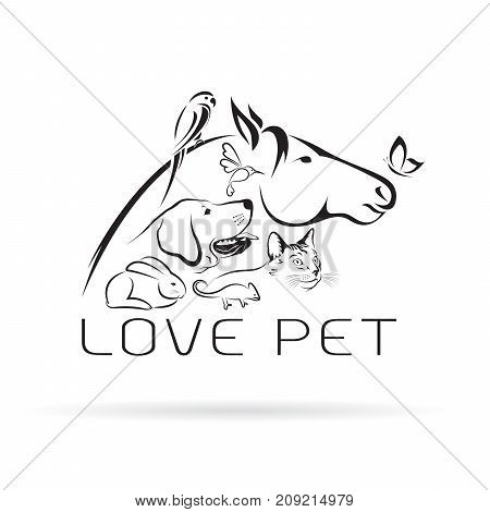 Vector group of pets - Horse dog cat bird butterfly chameleon rabbit isolated on white background. Pet Icon.