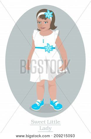 Happy little blue-eyed girl in a white dress, a blue barrette in the blue sandals