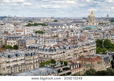 Aerial view of central Paris including Les Invalides and typical houses