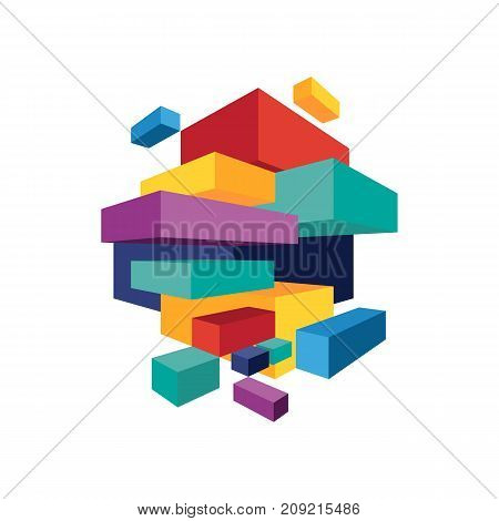 Abstract modern colorful geometric isometric background vector illustration