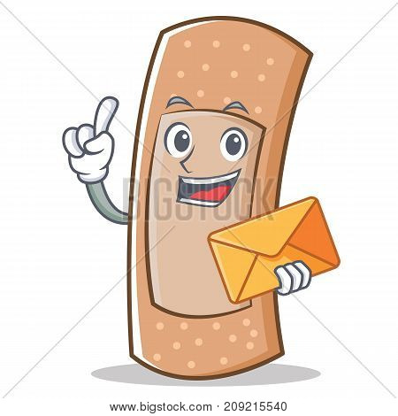 With envelope band aid character cartoon vector illustration