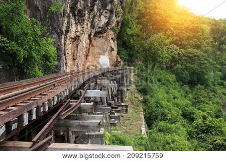 Train ride on the Death railway (river Kwai Thailand). Death Railway train passing over the Tham Krasae Viaduct. Thai - Burma Railway