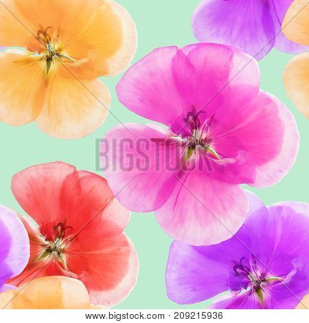 Geranium cranesbill pelargonium. Texture of flowers. Seamless pattern for continuous replicate. Floral background photo collage for production of textile cotton fabric.For use in wallpaper covers