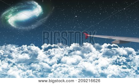 commercial airplane flying above clouds in dramatic night sky with star and galaxy constellation. beautiful night flight experience. international passenger flight travel concept background