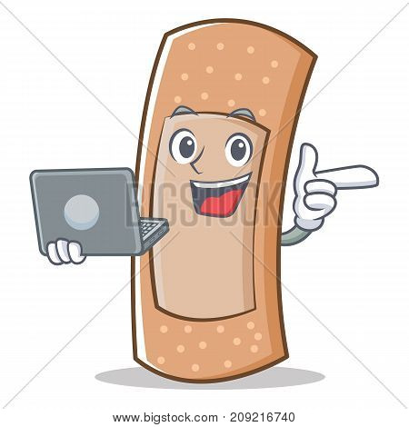 With laptop band aid character cartoon vector illustration