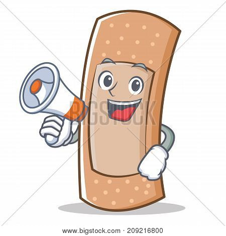 With megaphone band aid character cartoon vector illustration