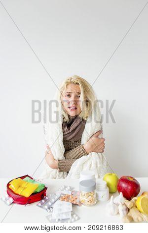 A portrait of a sick girl having flu