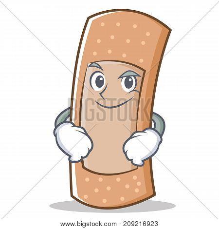 Smirking band aid character cartoon vector illustration