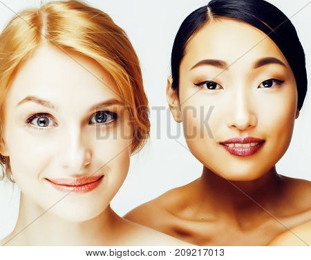 different woman: asian, caucasian together isolated on white background happy smiling, diverse type of skin, lifestyle people concept close up