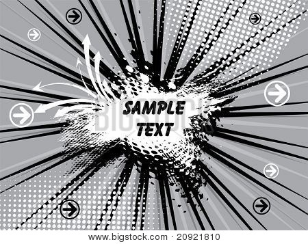 gray background with  rays, grunge text poster