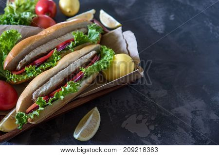 Mackerel In Baguette With Red Onion Tomato And Salad. Copy Space