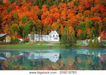 Danville Vermont church from Joes pond