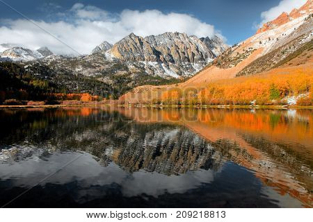 Scenic North lake landscape in California Sierra Nevada mountains