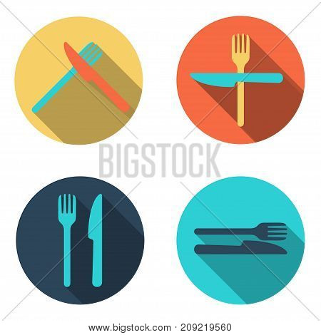 Vector cutlery flat Icon set, colorful with long shadow
