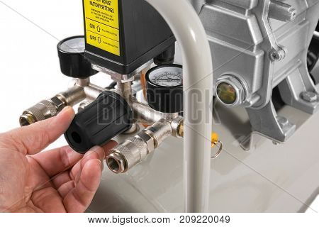 Air Compressor on white background - compressor control valve