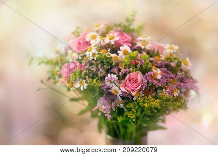 beautiful bouquet made of different flowers color mix flower.