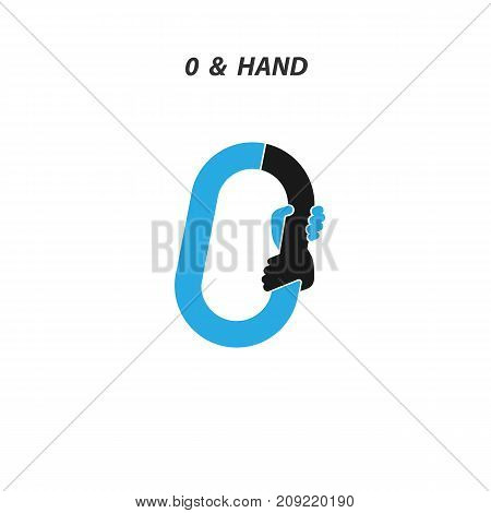 Creative 0- Number icon abstract and hands icon design vector template.Business offer, Partnership, Hope, Support or help concept.Vector illustration