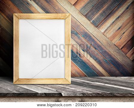 White Board On Plank Wooden Table Top At Diagonal Tropical Wood Wall,template Mock Up For Adding You