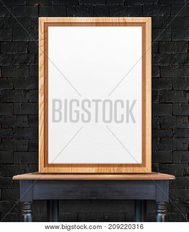 Blank Wooden Photo Frame Leaning At Black Brick Wall On Vintage Wood Table,template Mock Up For Add