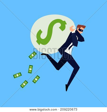 Corruption and fraud. Business concept in a flat style. Running businessman in a mask with a bag of money on his back. The thief runs with a holey bag of dollars. Vector illustration.