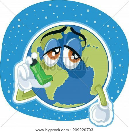 Suffering Planet Earth Cartoon Vector Ecology Concept Illustration