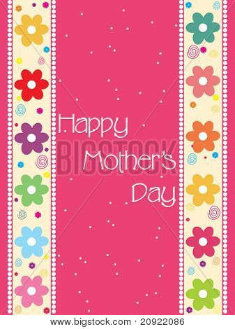 pretty mother day card with colorful flower border