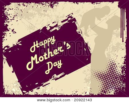 purple grunge mother day background with place for text, vector mother and child illustration