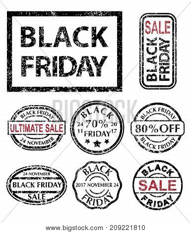 Black Friday rubber stamps set. Black Friday Sale grunge collection stamp isolated on white background. Vector illustration