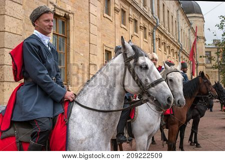 Gatchina St. Petersburg Russia - September 30 2017: Horse show of Cossacks on the parade ground of the Gatchina Palace. The construction of Cossacks on the parade ground of the Gatchina Palace.