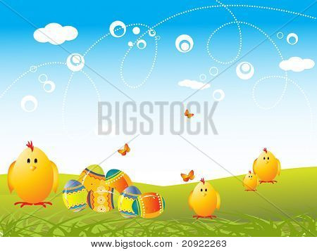 vector background of easter family