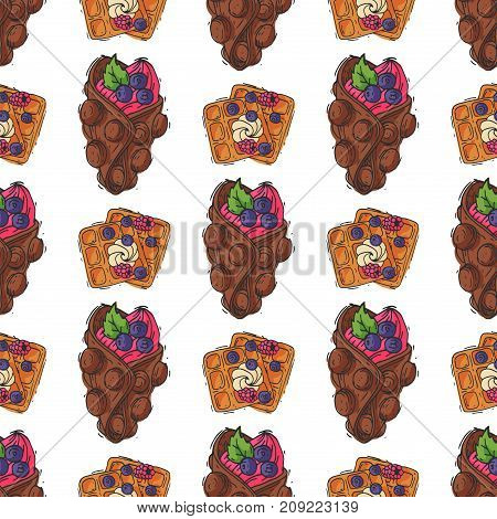 Wafer cookies waffle seamless pattern cakes and chocolate pastry cookie biscuit delicious snack cream dessert crispy bakery food vector illustration
