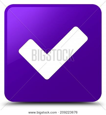 Validate icon isolated on purple square button abstract illustration poster