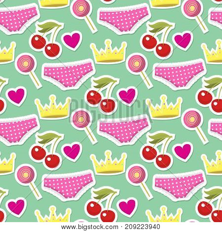 Cute hipster stickers scrapbook drawing vector illustration. Fashion patch pop design hand drawn seamless pattern background. Vintage female pin doodle accessories.