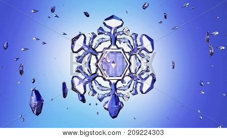 3d image of crystal snowflake against blue background. 3d rendering