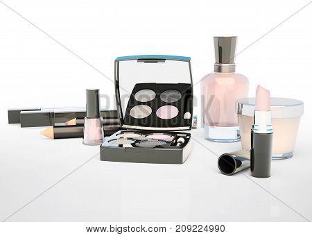 Makeup set on light background. Mascara lipstick pencil eye shadow concealer perfume bottle cream located on a light gray background. 3D illustration