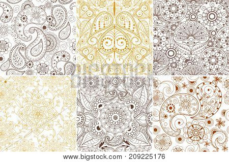 Floral mehendi pattern ornament vector illustration hand drawn henna asian textile style india tribal paisley ornate. Ethnic ornamental lace vintage mandala abstract textile