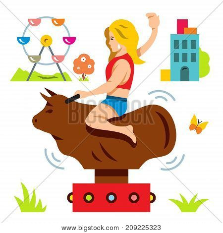 Woman on the mechanical animal simulator. Isolated on a white background