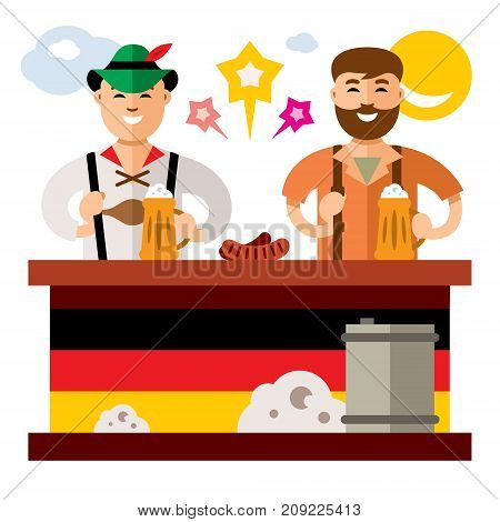 Two people are drinking alcohol. Isolated on a white background